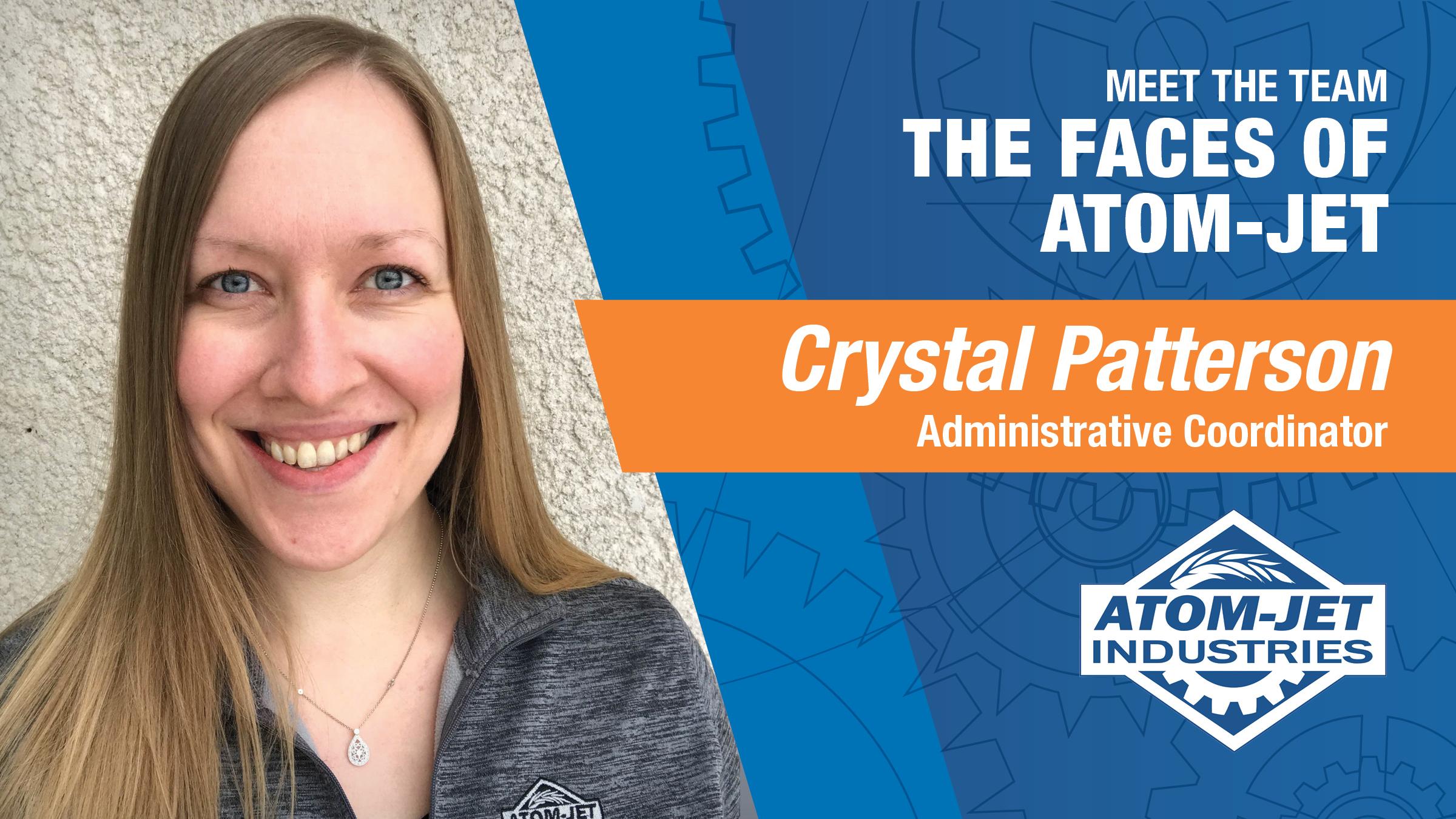 Atom-Jet Team Member, Crystal Patterson, Administrative Coordinator